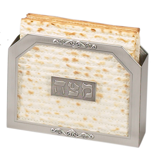 Stand Up Matzah Holder - clear with Silver Edges