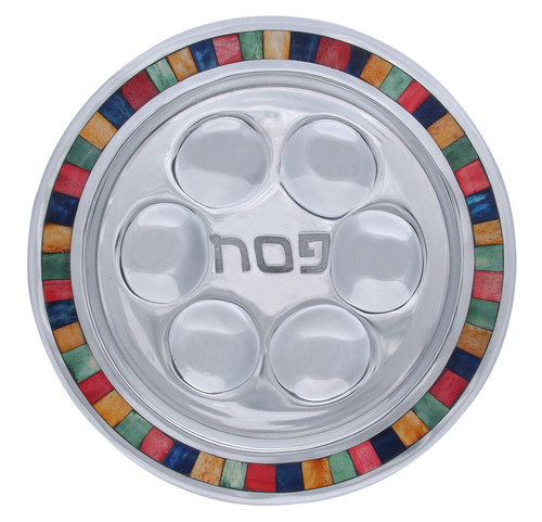 Round Aluminum Passover Seder Plate with Colorful Decorative Inlay