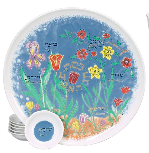 Cheerful Passover Seder Plate with Matching Dishes