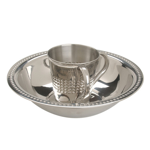 "Stainless Steel ""Netillat Yadayim"" Washing Bowl and Cup"