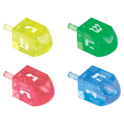 """4 Plastic Clear Colorful Dreidles  1.8"""""""