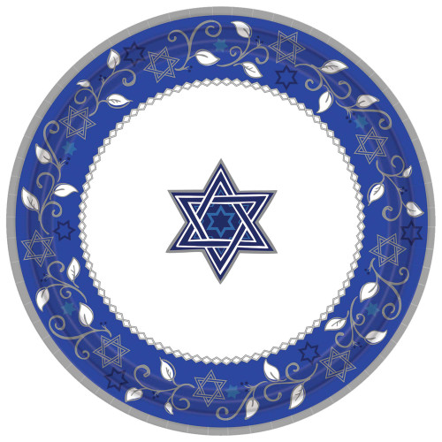 Star of David Design Dinner Paper Plates
