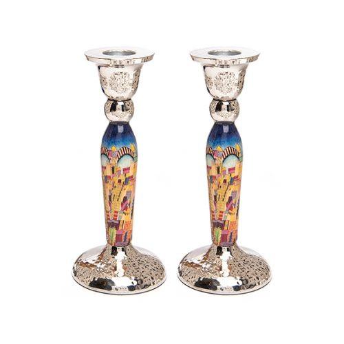 Metal Candlesticks w/ Jerusalem Design