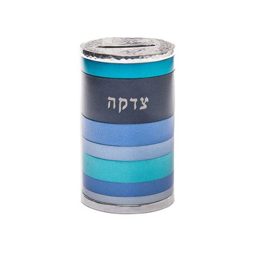 Emanuel Anodized Blue Tzedakah Box Rings