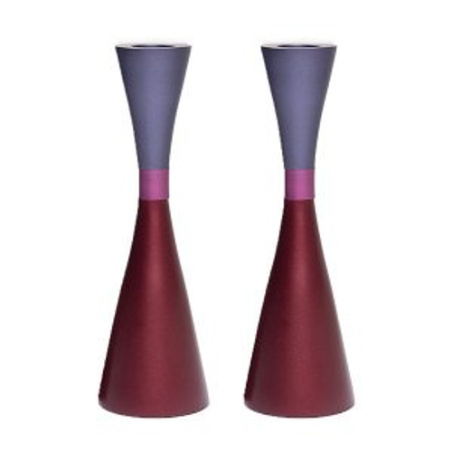 Emanuel Anodized Maroon/Purple Candlesticks w/ Ring
