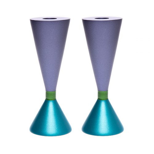 Double Sided Anodized Turquoise/Purple Candlesticks W/ Ring