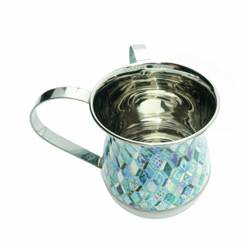 Emanuel Metal Washing Cup-Blue-Abstract Design