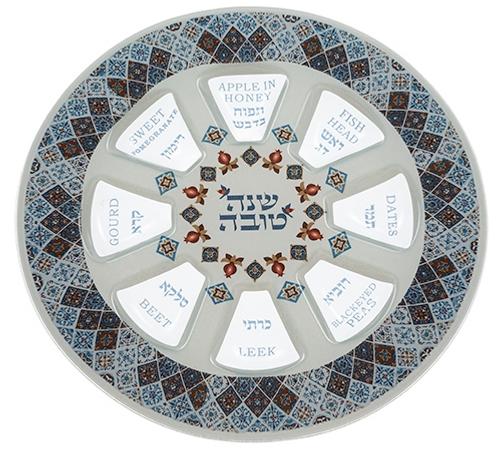 Glass Rosh Hashana Simanim Plate