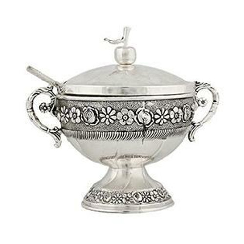 Silverplate Honey Dish with glass insert and spoon