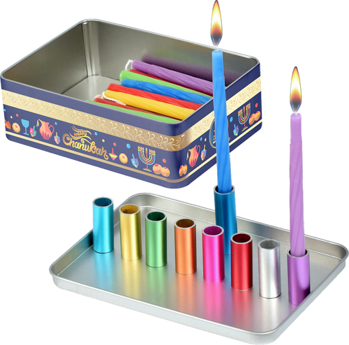 Magnetic Travel Menorah with Candles + Instructions