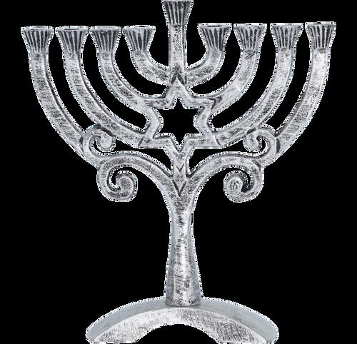 Antiqued Menorah Silver