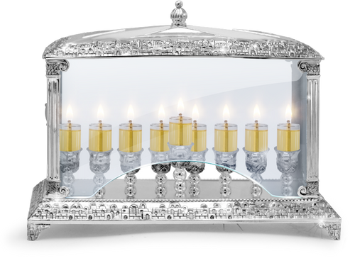 """Oil Menorah With Glass Walls Silver  Plated   W 14"""" H 10½"""" D 5½"""""""