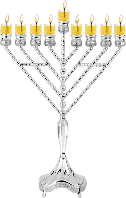 """Silver Plated Oil Menorah Rambam Approx Size  W: 14"""" H: 18"""""""