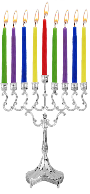 """Silver plated candle menorah Size: Height 8"""" x Width 6 1/2"""""""