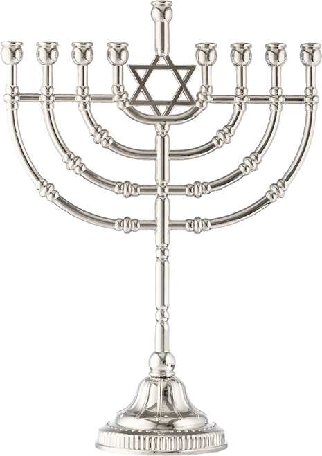 """12"""" Traditional Menorah Nickle Plated W: 8.75"""" H:  12"""""""