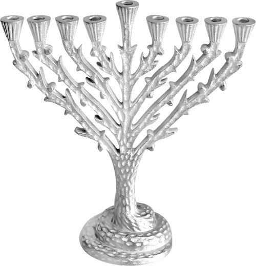 """Tree of Life Menorah Silvertone Hammered Approx Size  W 7¾"""" H 8½"""""""