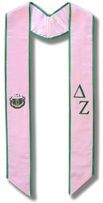 Delta Zeta Graduation Stole - Pink with Kelly Green embroidery with Crest