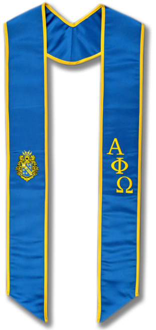 Alpha Phi Omega Graduation Stole - Royal with Gold embroidery and Crest