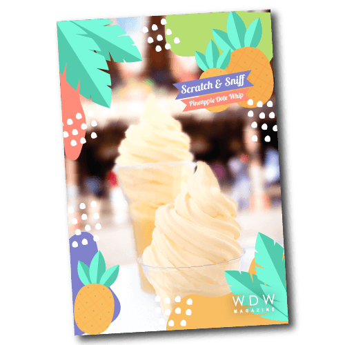 Scratch and sniff the card to release the scent of pineapple Dole Whip