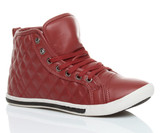 Front right side view of Red PU Flat Lace Up Quilted Hi-Top Trainers