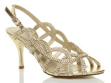 Front right side view of Gold PU High Heel Diamante Slingback Strappy Cutout Sandals