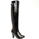 Front right side view of Black Patent High Heel Stretch Over The Knee Boots