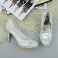 Closeup view of features of Ivory Diamante Glitter High Heel Platform Court Shoes