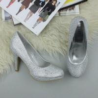 Closeup view of features of Silver Diamante Glitter High Heel Platform Court Shoes