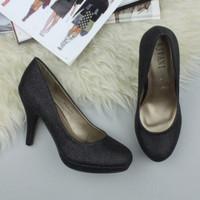 Closeup view of features of Black Glitter High Heel Platform Court Shoes