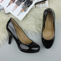 Closeup view of features of Black Patent High Heel Platform Court Shoes