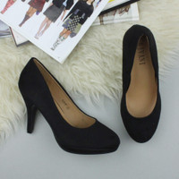 Closeup view of features of Black Suede High Heel Platform Court Shoes