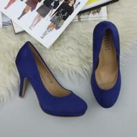 Closeup view of features of Cobalt Blue Suede High Heel Platform Court Shoes
