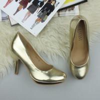 Closeup view of features of Gold PU High Heel Platform Court Shoes