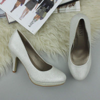 Closeup view of features of Ivory Glitter High Heel Platform Court Shoes