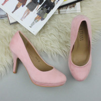 Closeup view of features of Baby Pink Suede High Heel Platform Court Shoes