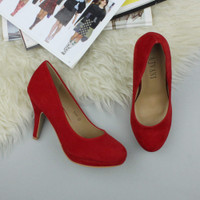 Closeup view of features of Red Suede High Heel Platform Court Shoes