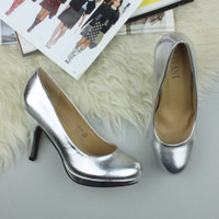 Closeup view of features of Silver PU High Heel Platform Court Shoes