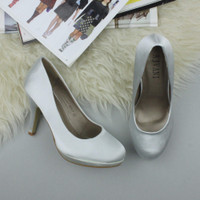 Closeup view of features of Silver Satin High Heel Platform Court Shoes