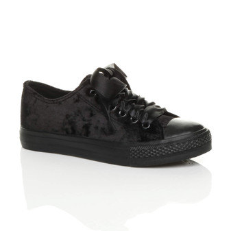 Front right side view of Black Flat Velvet Ribbon Lace Up Plimsolls