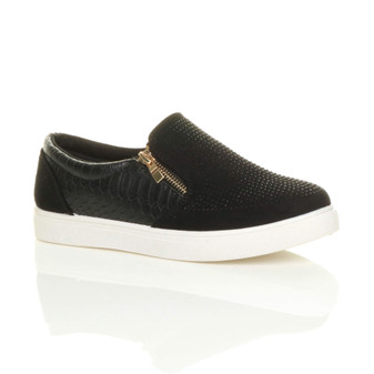 Front right side view of Black Suede Flat Diamante Gold Zip Plimsolls Trainers