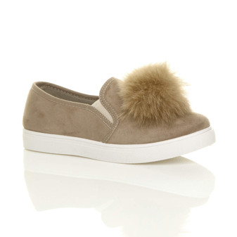 Front right side view of Beige Suede Flat Pom Pom Trainers Plimsolls