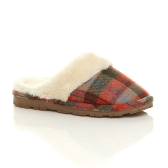 Front right side view of Red Check Fur Lined Winter Luxury Mules Slippers