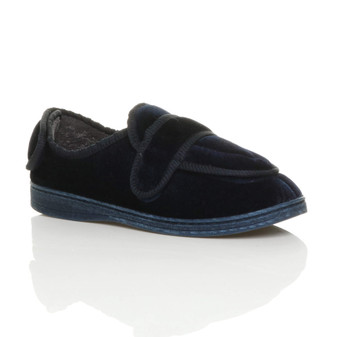 Front right side view of Navy Orthopaedic Memory Foam Wide Fit Padded Slippers