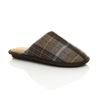 Front right side view of Brown Check Winter Fur Lined Memory Foam Mules Slippers House Shoes