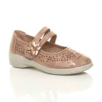 Front right side view of Rose Gold PU Mary Jane Grip Sole Comfort Shoes