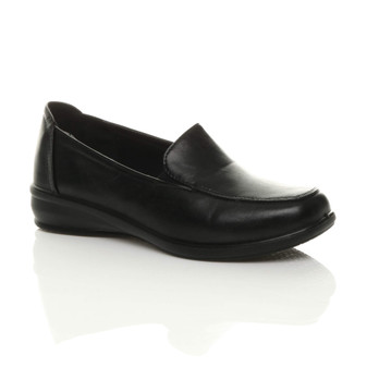 Front right side view of Black PU Low Heel Slip On Padded Comfort Moccasins Loafers Shoes