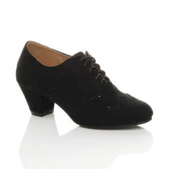 Front right side view of Black Suede Mid Heel Cut Out Brogue Shoe Boots