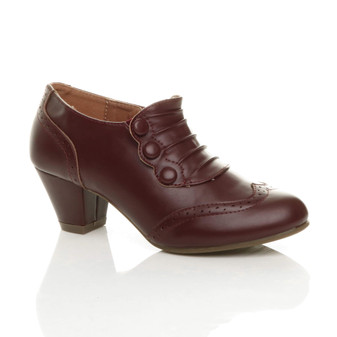 Front right side view of Burgundy PU Mid Heel Buttons Brogue Ankle Boots Booties