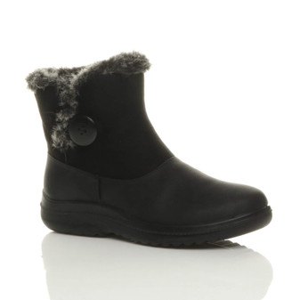 Front right side view of Black PU Flat Low Heel Fur Lined Trim Button Winter Ankle Boots