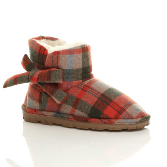 Front right side view of Red Check Flat Bow Fur Lined Ankle Boots Slippers Booties
